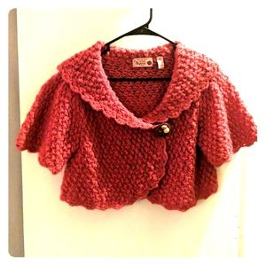 Coral Wool Knit Shrug | Short Sleeves | Button